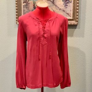 Time and Tru lace up burgundy blouse size Medium